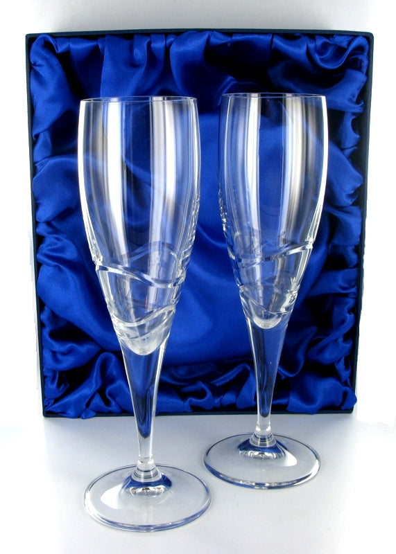Verona Champagne Flutes Pair with Presentation Box & Free Engraving