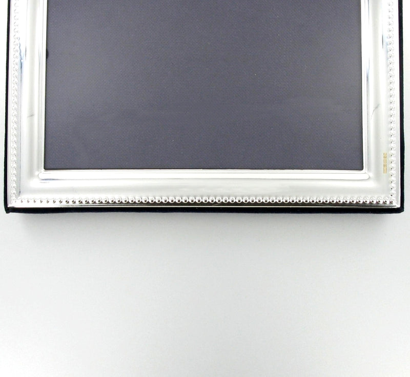 "Solid Silver Photo Frame Bead Edge 8""x6"" Landcape 6604EX2"