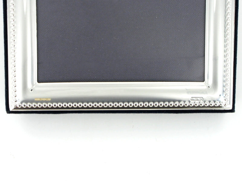 "Solid Silver Photo Frame Bead Edge 7""x5"" Portrait 6574EX"