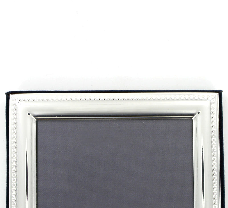 "Solid Silver Photo Frame Bead Edge 7""x5"" Portrait 6604EX"