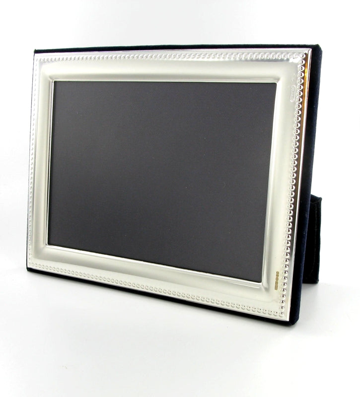 "Solid Silver Photo Frame Bead Edge 11""x9"" Landcape 6574GT2"