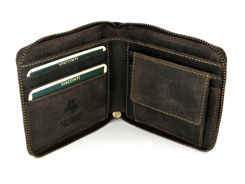 Visconti Bullet Zipped Leather Wallet 702