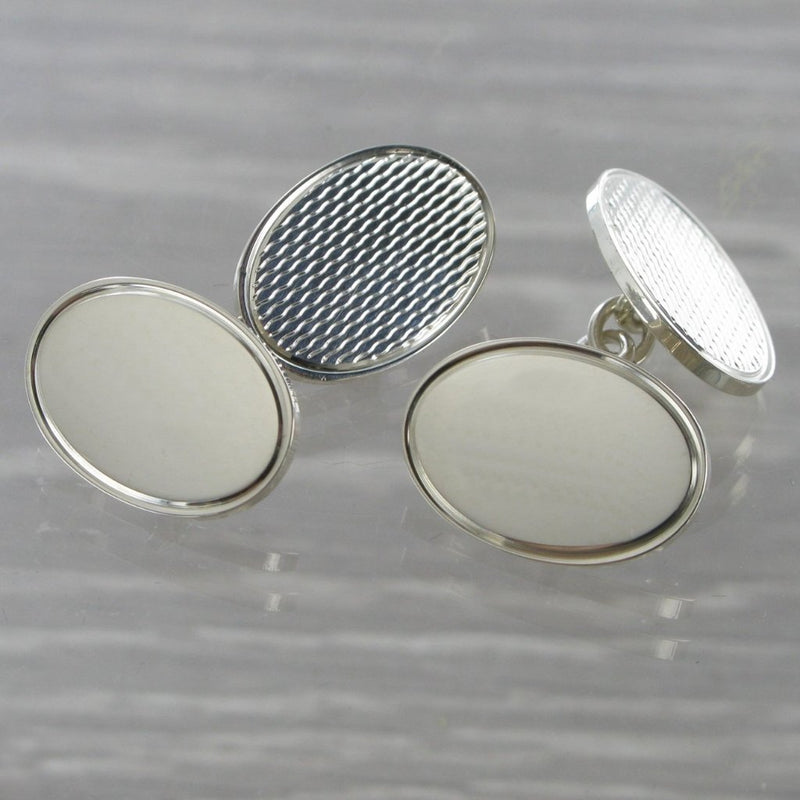 50 50 Oval Chained Solid Silver Cufflinks 7052