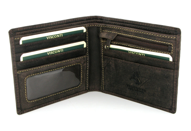 Visconti Shield Leather Wallet 707 Oil Brown