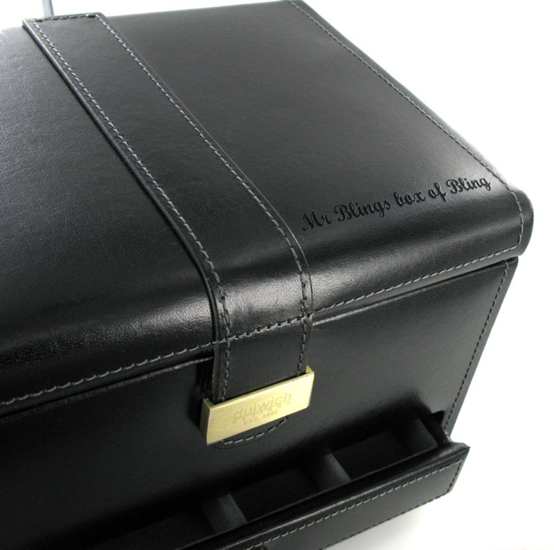 Dulwich Heritage Black Leather 3x Watch & Jewellery Box 70866
