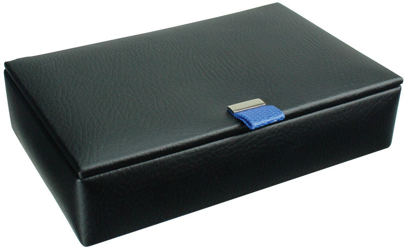 Dulwich Eclipse 15Piece Cufflink Box 70905 Black Leather~Blue Lining