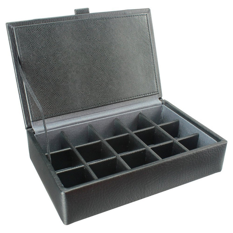 Dulwich Eclipse 15Piece Cufflink Box 70906 Black Leather~Grey Lining