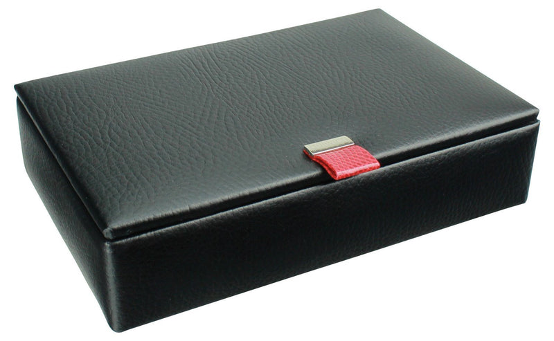 Dulwich Eclipse 15 Piece Cufflink Box 70907 Black Leather~Red Lining