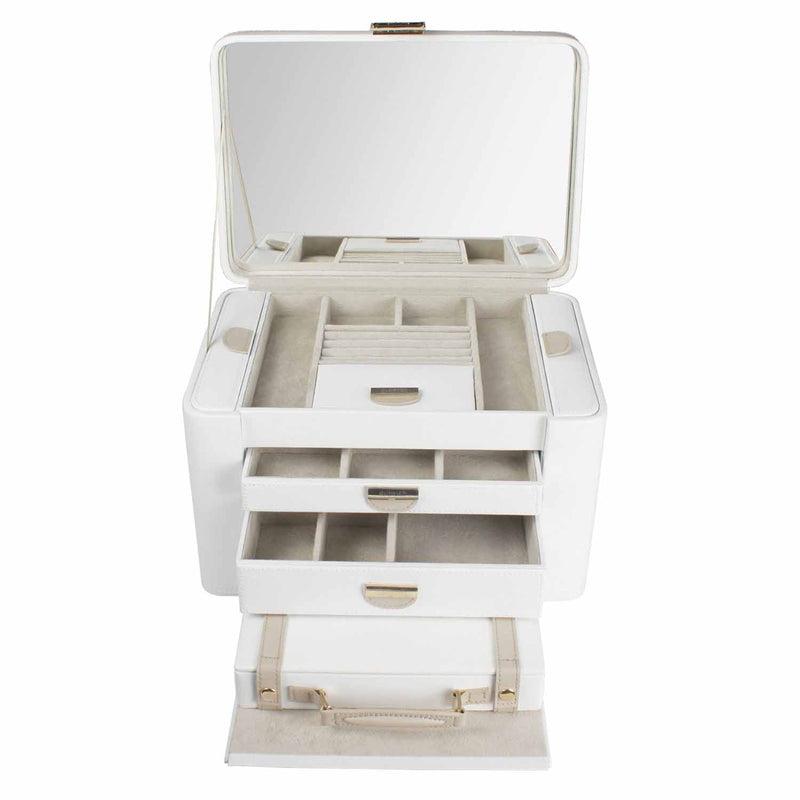 Dulwich Designs Belgravia Extra Large Jewellery Box 71021 Cream Leather