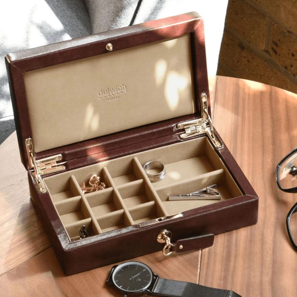 Dulwich Designs Windsor Brown Leather Cufflink Box 71211