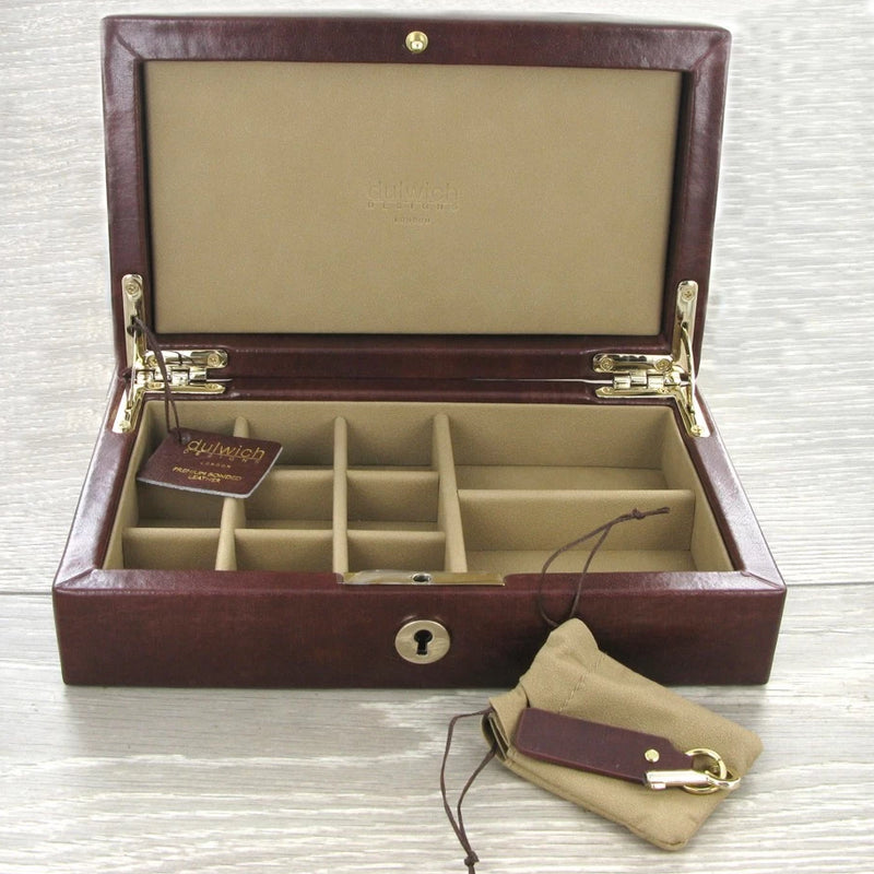 Dulwich Windsor Brown Leather Cufflink Box 71211