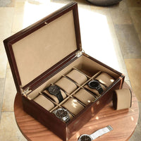 Dulwich Designs Windsor Brown Leather 10 Piece Watch Box 71213