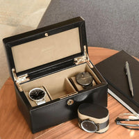 Dulwich Designs Windsor Black Leather 3 Piece Watch Box 71218