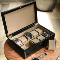 Dulwich Designs Windsor Black Leather 10 Piece Watch Box 71219