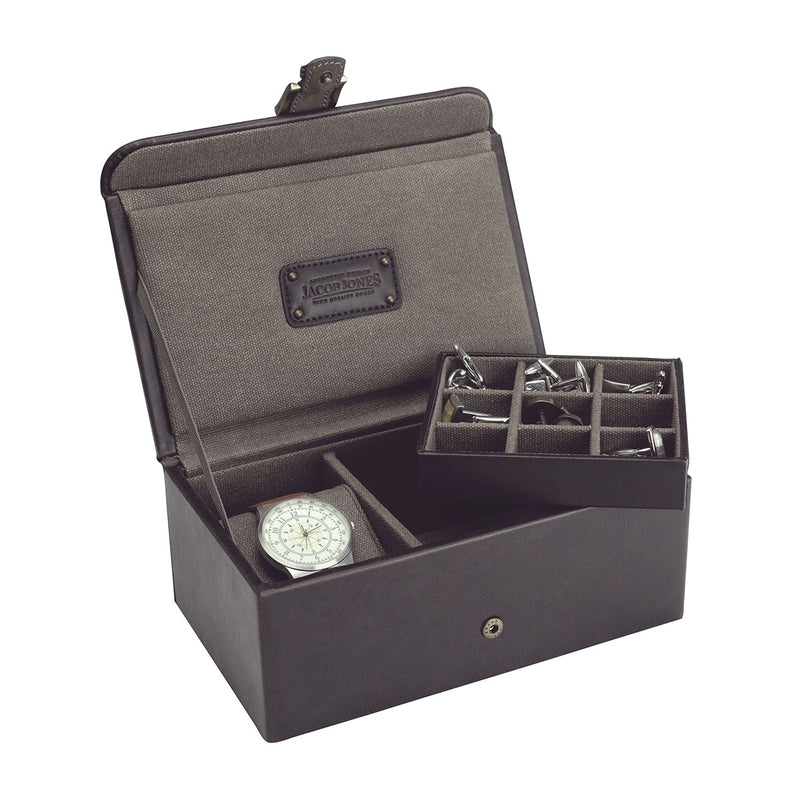 Jacob Jones Watch & Cufflink Box -73495- Khaki
