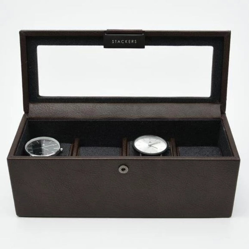 Stackers Brown 4 Piece Watch Box 75398 Vegan Leather