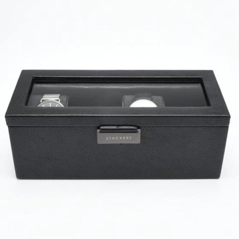Stackers Black 4 Piece Watch Box 75399 Vegan Leather