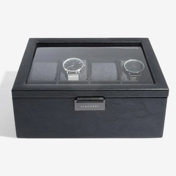 Stackers Black 8 Piece Watch Box 75401 Vegan Leather