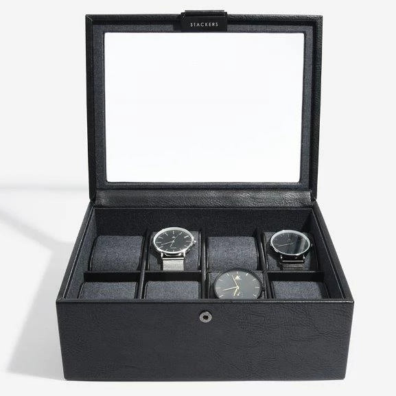 Stackers Black 8 Piece Watch Box 75401 Vegan Leather Engrave It Now and personalise the lid with a laser engraved message