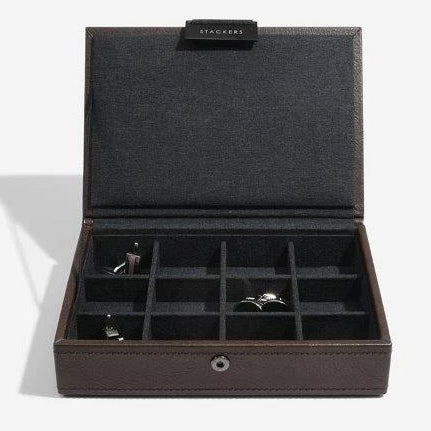 Stackers Brown Leather Lidded Mini Cufflink Box 75422 Personalise the lid with Laser engraved message