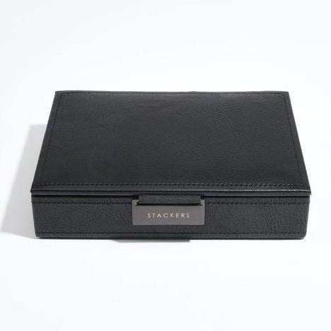 Stackers Black Leather Lidded Mini Cufflink Box 75423 Vegan Leather