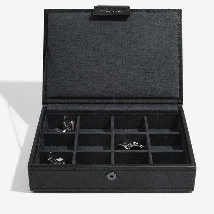 Stackers Black Leather Lidded Mini Cufflink Box 75423 Vegan Leather Personalise the lid with Laser engraved message