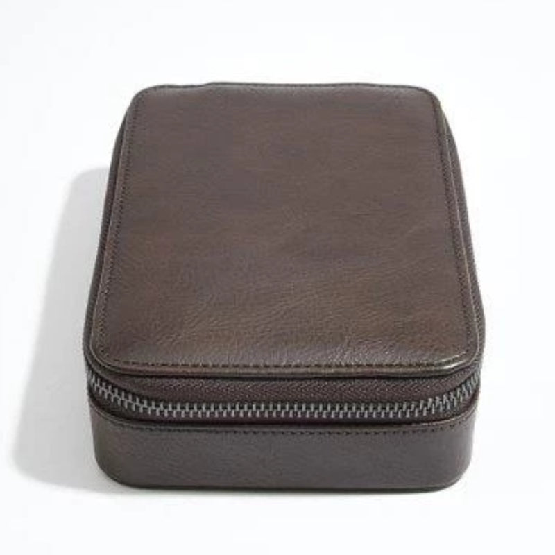 Stackers Brown Watch & Cufflink Travel Zip Box 75426 Vegan Leather
