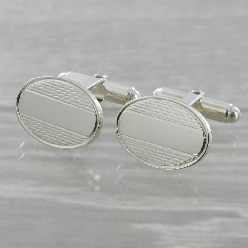 Engine Turned Oval Swivel Solid Silver Cufflinks 8307