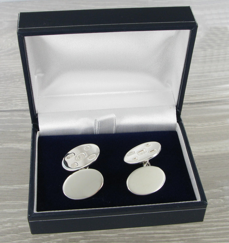 Feature Hallmarked Oval Chained Solid Silver Cufflinks 8538