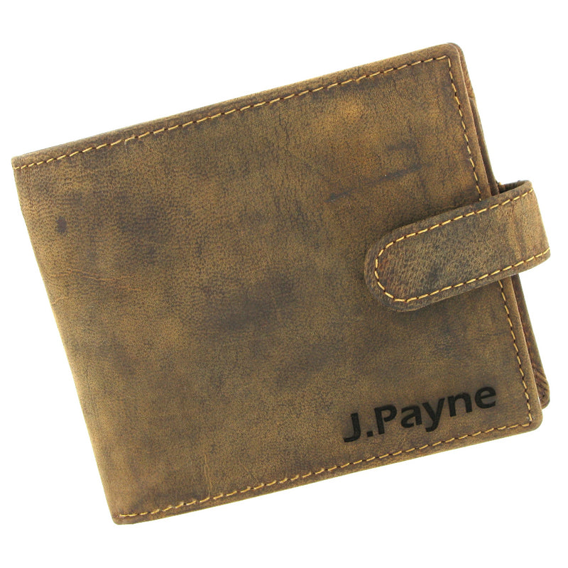 Personalised Brown Leather Wallet with laser engraved name on front and message inside