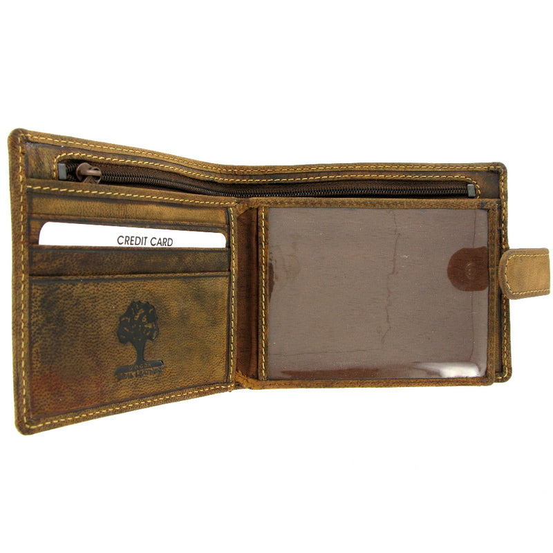 Personalised Leather Wallet 862 Soft Brown Distressed Leather Wallet