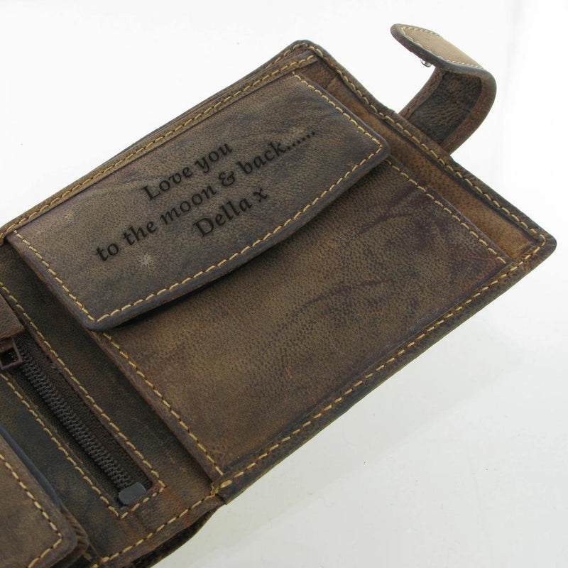 Personalised Leather Wallet 865 Soft Brown Distressed Leather Wallet