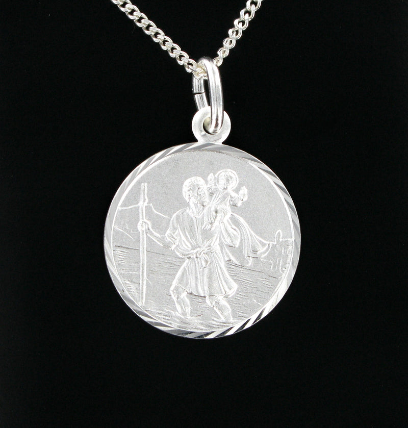 "Round St. Christopher with 18"" Curb Chain & Presentation Box"