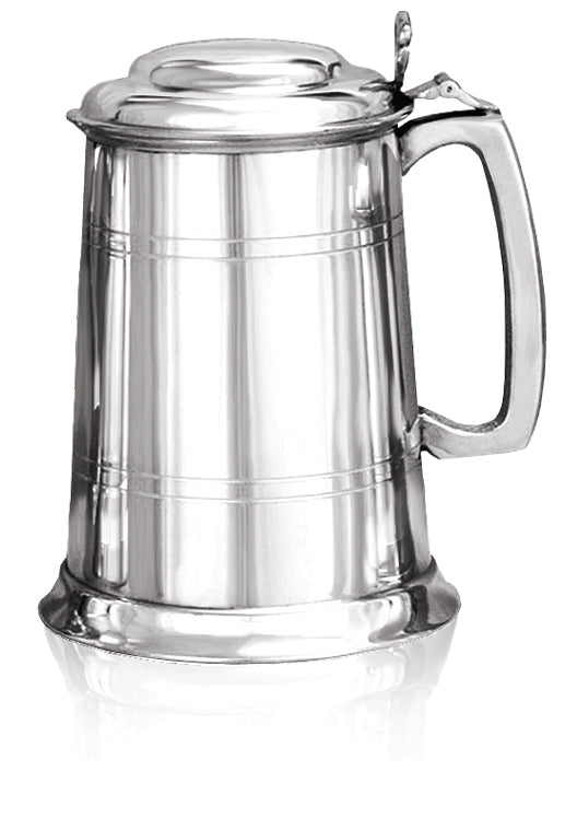 Pewter 1 Pint Lidded Tankard
