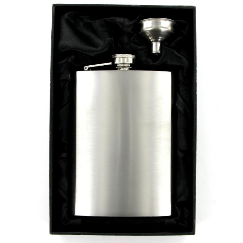 Hip Flask 8oz Brushed Steel