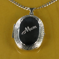 "Diamond Cut Oval Locket & 20"" Curb Chain"