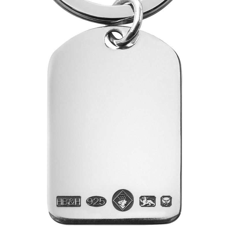 Hallmarked Silver 36mm Round Topped Keyring 9167