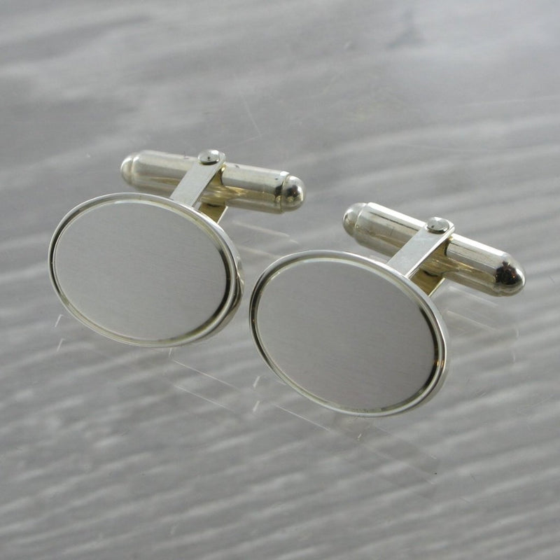 Oval Swivel Solid Silver Cufflinks 9187