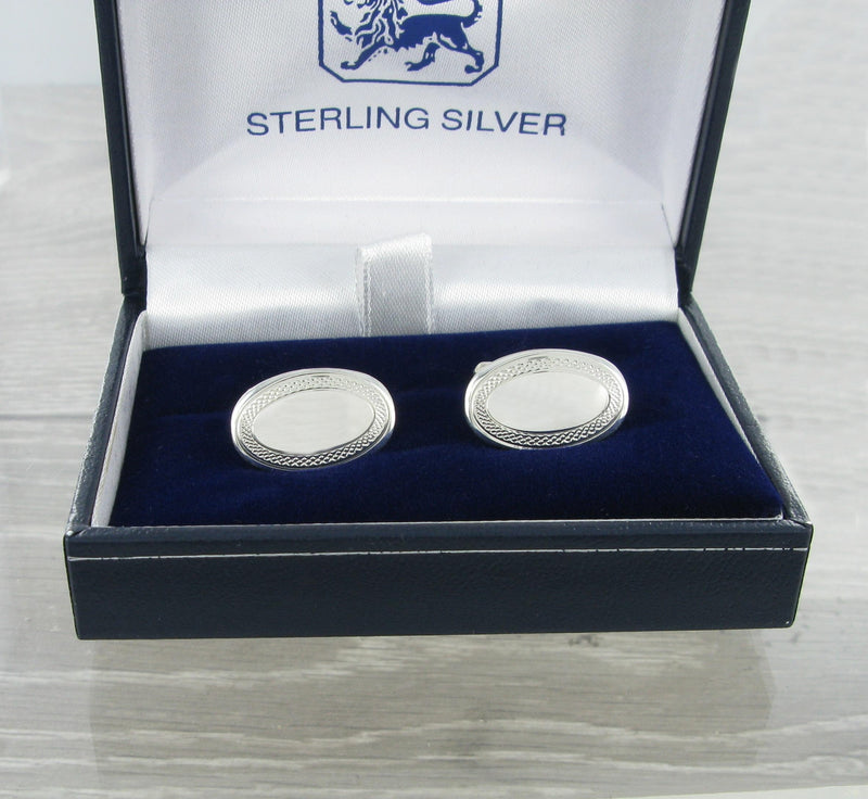 Engine Turned Rim Oval Swivel Solid Silver Cufflinks 9237