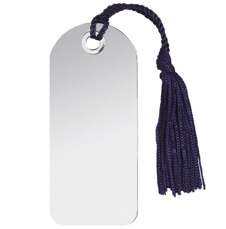 Bookmark, round top silver plated with tassle
