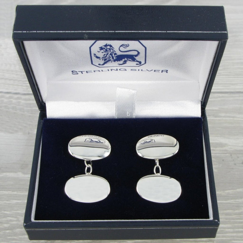 Plain Oval Chained Solid Silver Cufflinks 9354