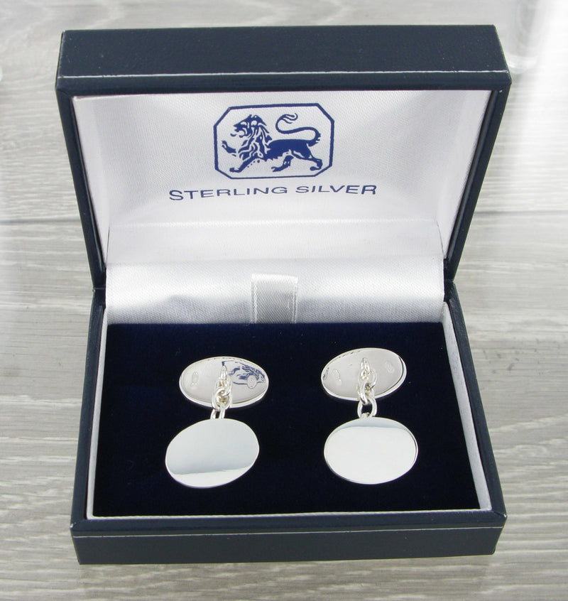 Plain Oval Chained Solid Silver Cufflinks 9364