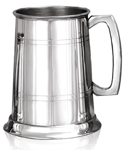 Pewter 1 Pint Two Line Straight Tankard