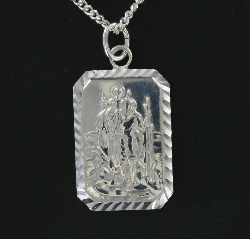 "Rectangular St. Christopher with 18"" Curb Chain & Presentation Box"