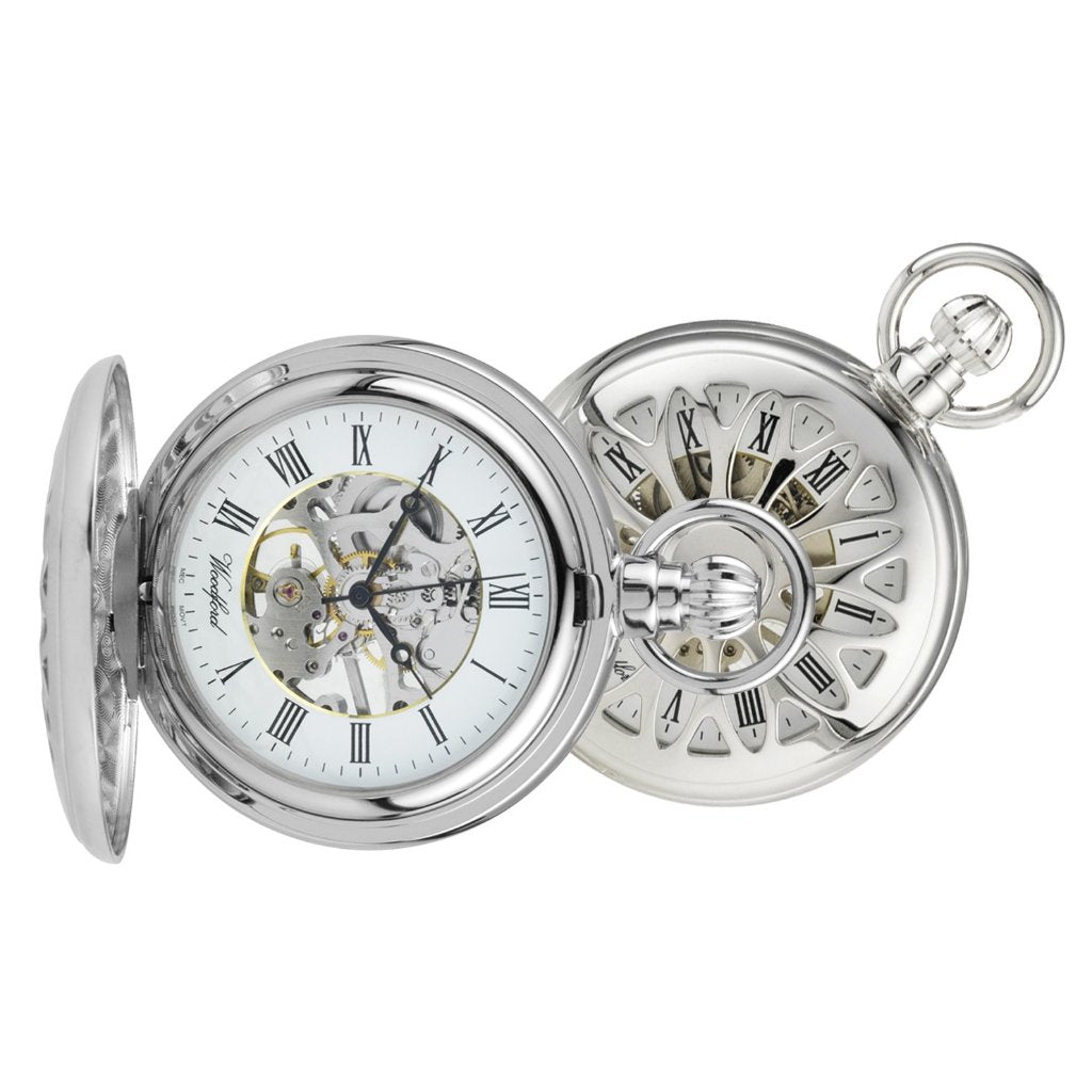 Filagree Skeleton Chrome Pocket Watch CHR1052