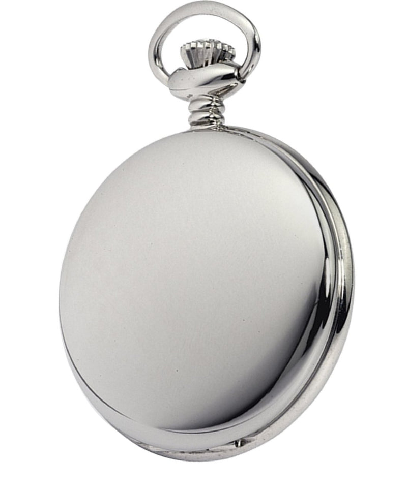 Chrome Twin Lid Full Hunter Skeleton Pocket Watch by Woodfords CHR1062