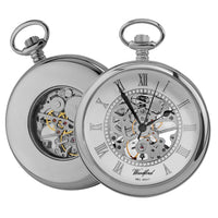 Open Face Skeleton Pocket Watch Chrome Plated with chain CHR1084