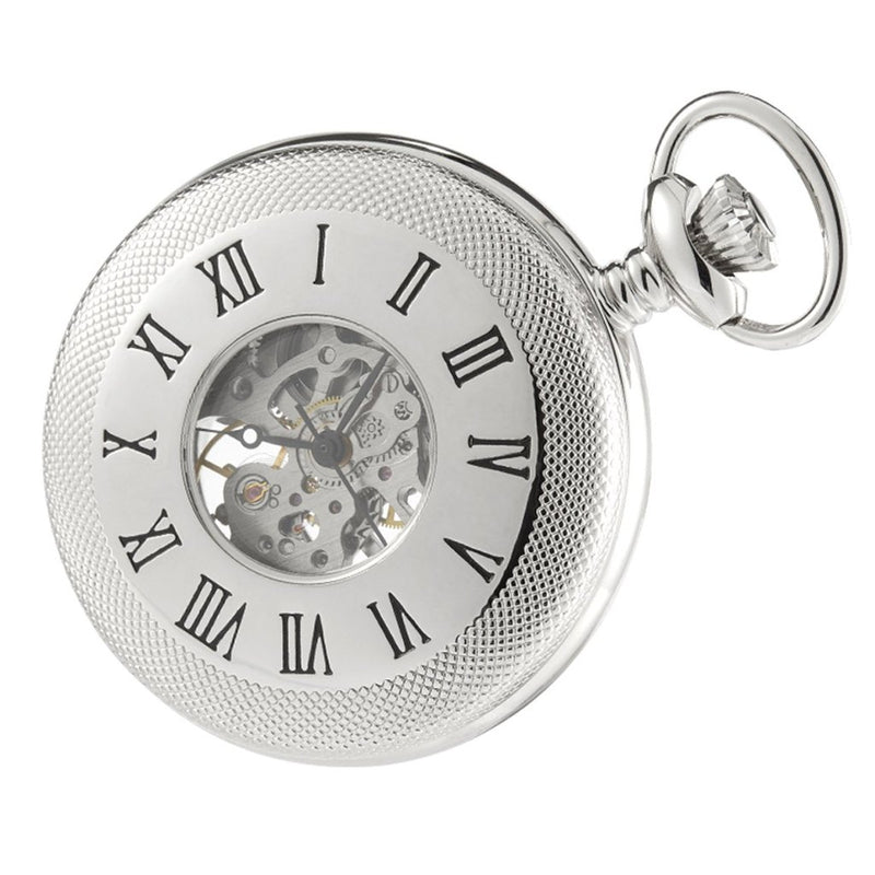 Half Hunter Skeleton Pocket Watch Chrome Plated with chain CHR1116