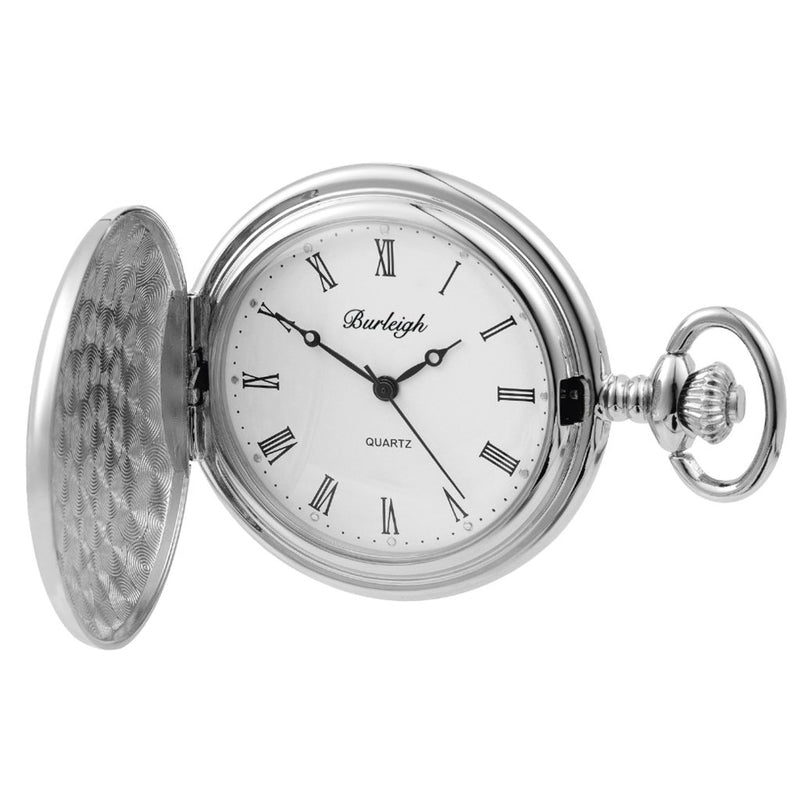 Chrome Full Hunter Pocket Watch by Burleigh complete with Stand CHR1923