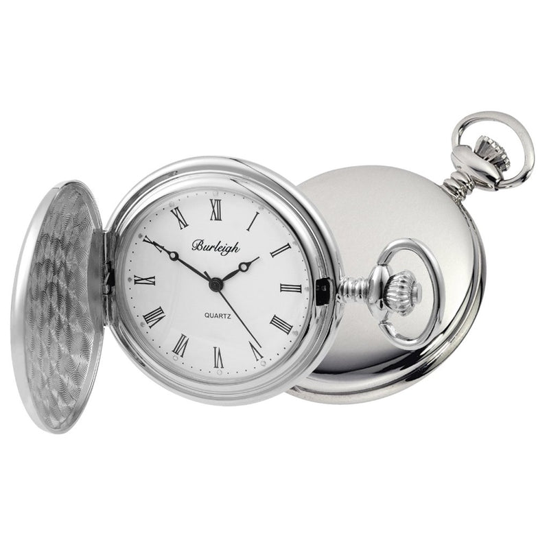 Budget Chrome Full Hunter Pocket Watch by Burleigh
